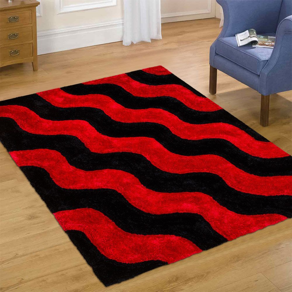 Allstar Rugs Lava Gy Area Rug With Black Wavy Design