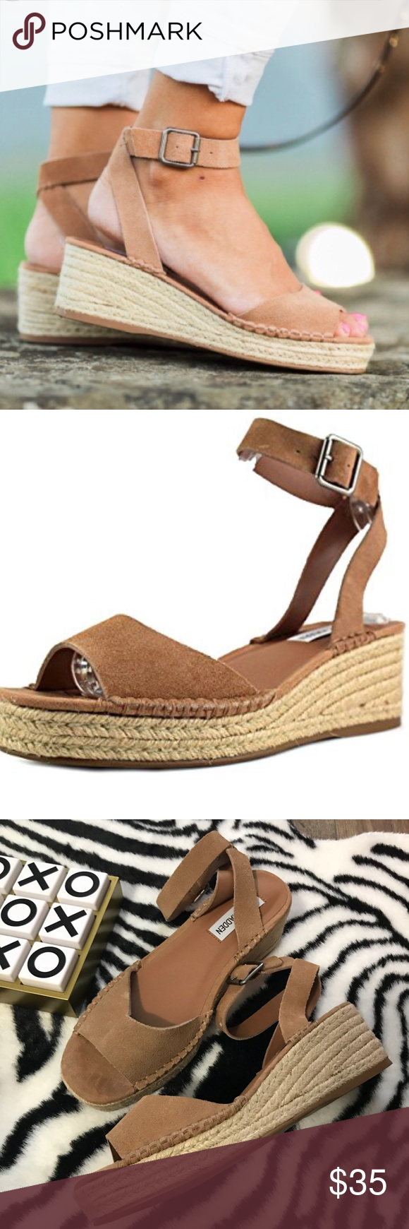 a6707426a8d Steve Madden Elody Wedge Espadrilles NWOT sz 8, tan color 2 in tall ...