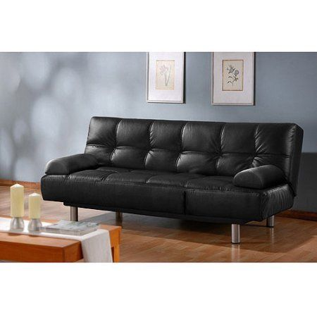 Atherton Home Manhattan Convertible Futon Sofa Bed And Lounger Black Faux Leather