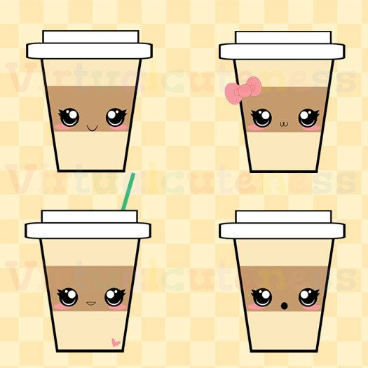 Kawaii Coffee Clip Art Espresso Clipart Hot Cocoa Happy Coffee Cup Coffee Addict Digital Stickers Free Commercial And Personal Use With Images Digital Sticker