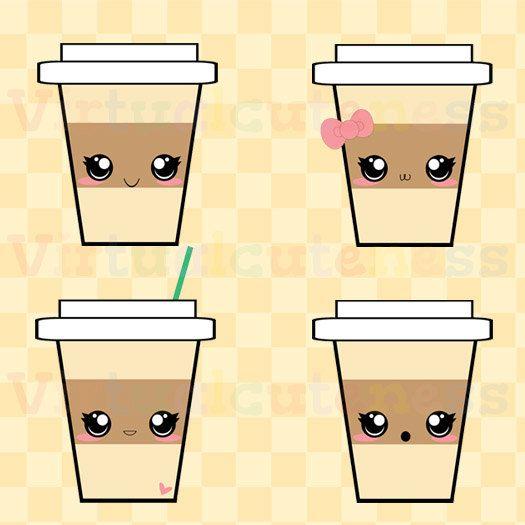 Kawaii Coffee Clip Art Espresso Clipart Hot Cocoa Happy Coffee