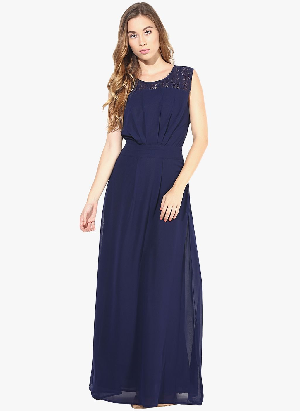 4566c31f546f Buy La Zoire Navy Blue Colored Solid Maxi Dress for Women Online India