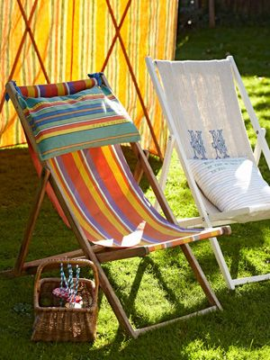 Colourful garden deck chairs - How to replace deckchair fabric - Sewing for your home - Craft - allaboutyou.com & Colourful garden deck chairs - How to replace deckchair fabric ...