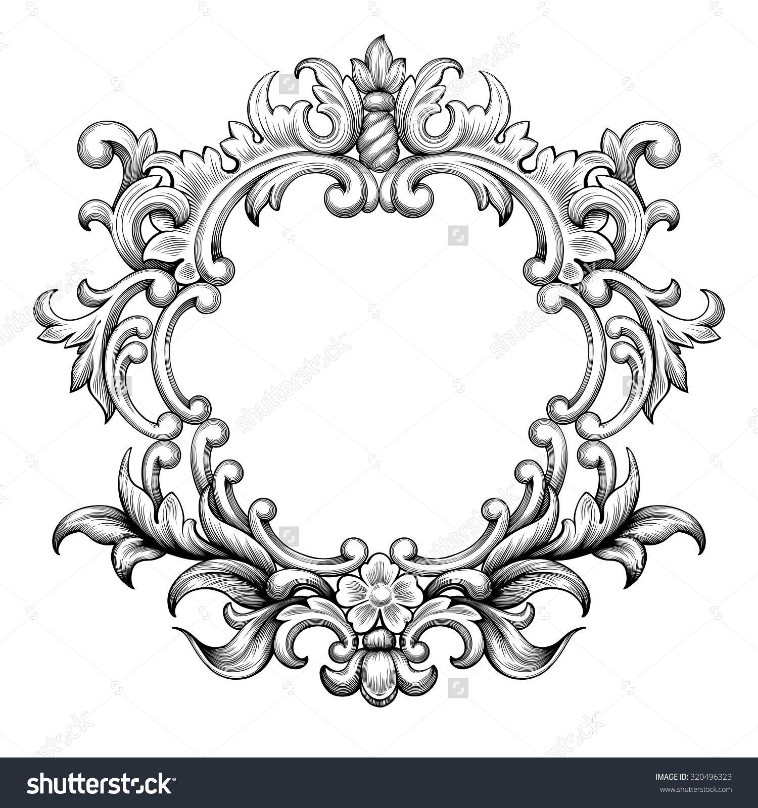 vintage baroque frame border leaf scroll floral ornament. Black Bedroom Furniture Sets. Home Design Ideas