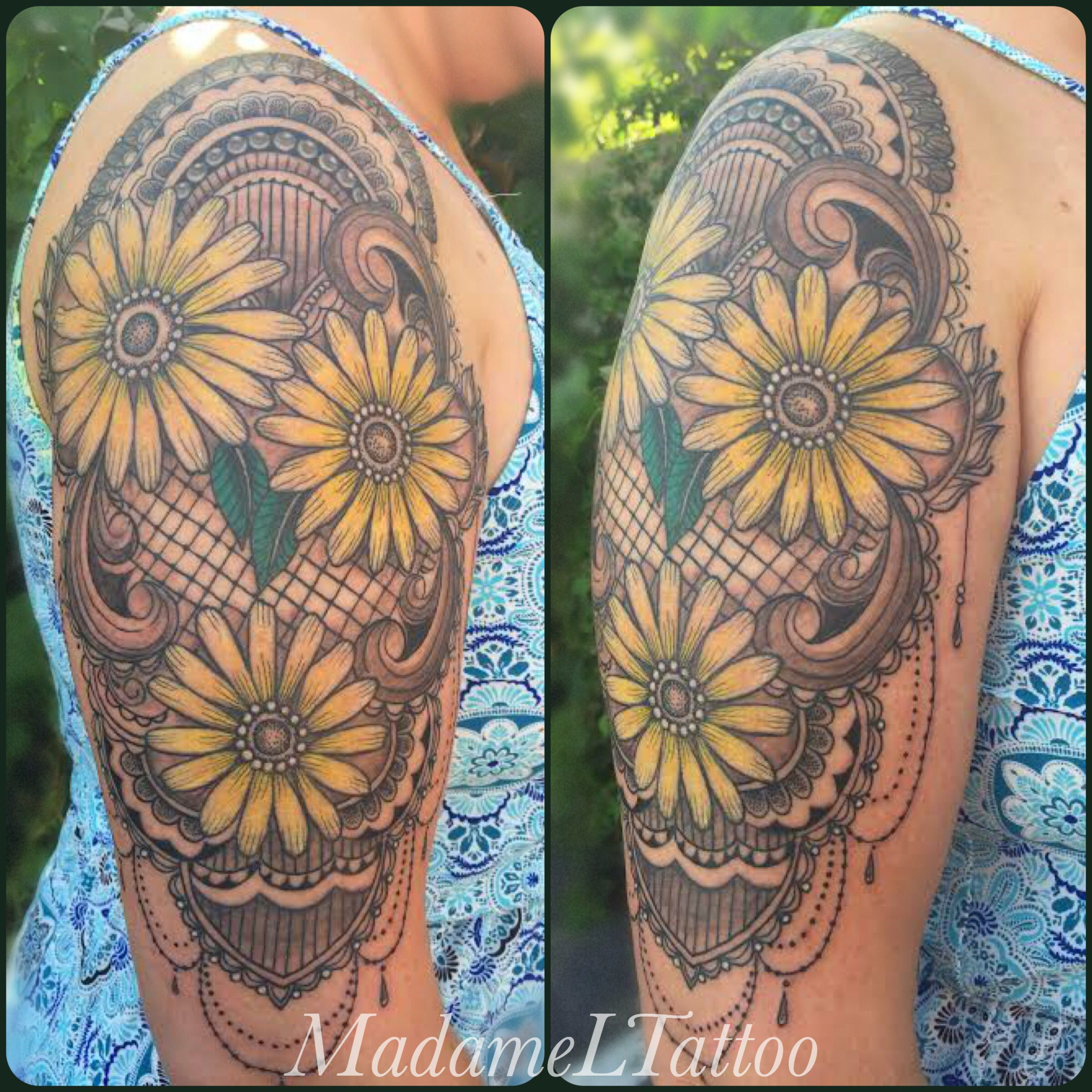 Beautiful daisy and lace half sleeve. Half sleeve tattoo