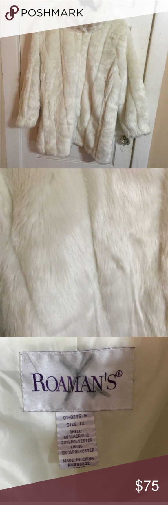 Photo of Romans 1x off white fur coat PLUS SIZE Plus size fun off white fur coat. Rarely …