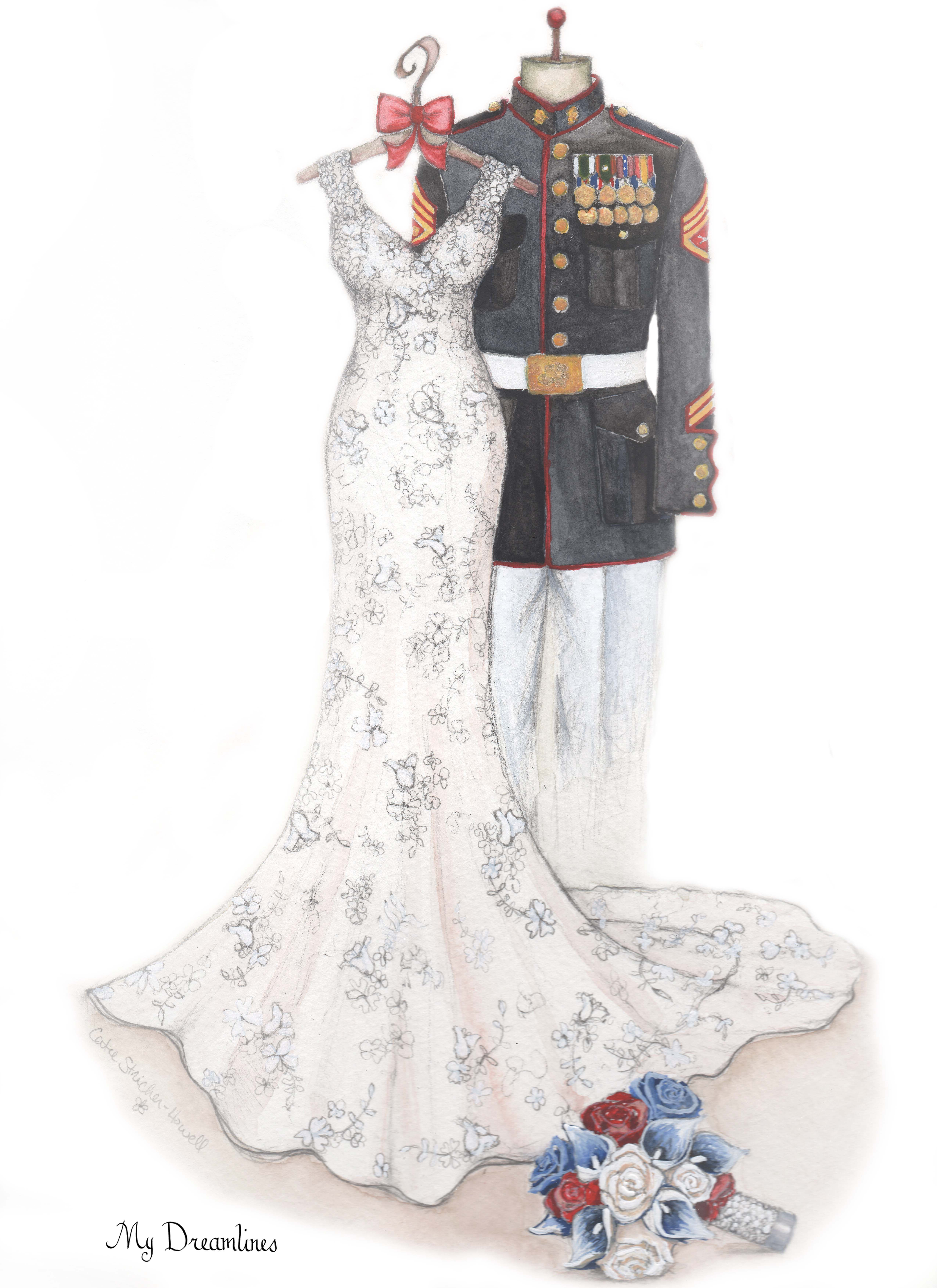 Military Uniform And Wedding Dress Sketch Given As Wedding Gifts Or