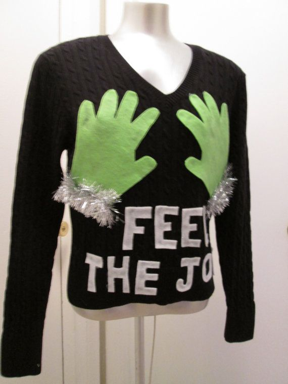 Ugly Christmas Sweater Hilarious Grinch Hands by MotherFrakers