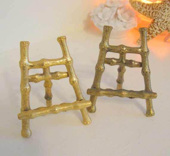 Pair of Brass Easels or Small Plate Holder by Somethingcharming & Pair of Brass Easels or Small Plate Holder Picture Stands | Small ...