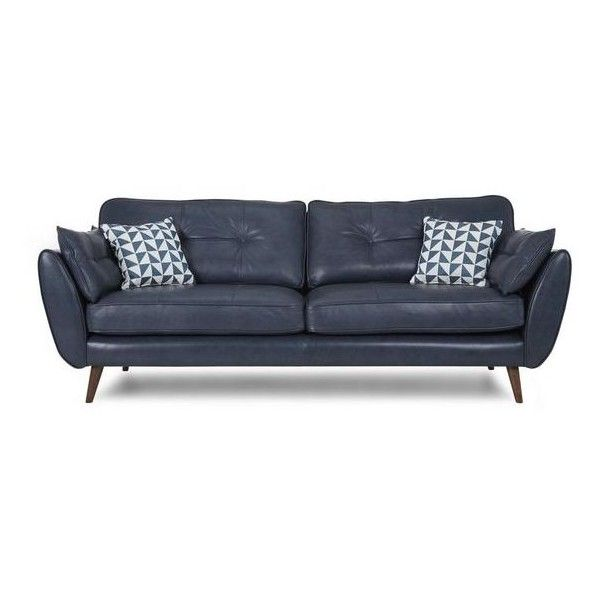 Zinc Leather 4 Seater Sofa Zinc Leather 51 Liked On Polyvore Featuring Home Furniture Sofas With Images Blue Leather Sofa Leather Sofa Living Room Dfs Leather Sofa