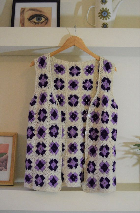 Wool crochet waistcoat vest granny square by Beyondthevintage