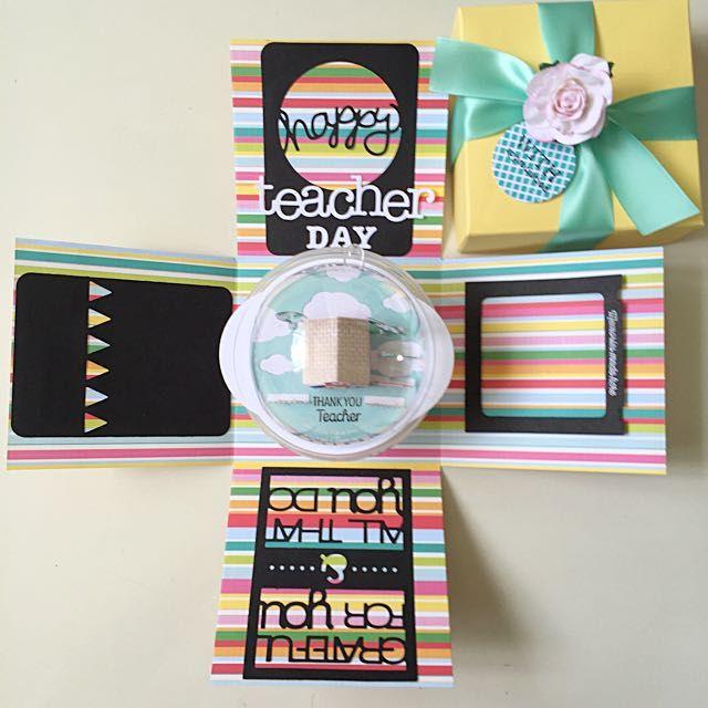 Happy Teacher Day Handmade Explosion Box Card on Carousell ...