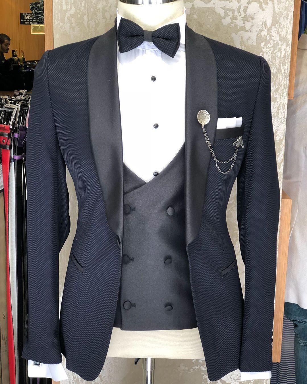 Cedric Navy Blue Slim Fit Tuxedo Wedding suits, Wedding