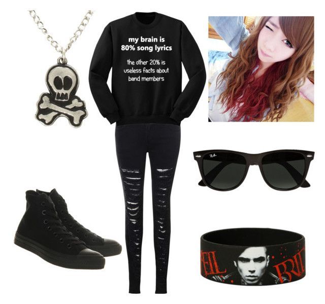 """""""Blaine's Outfit"""" by xxbeautifulmoonlightxx ❤ liked on Polyvore featuring Glamorous, Converse, Ray-Ban and Clair Beauty"""