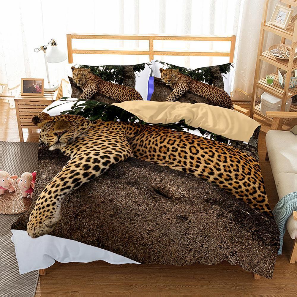3D Animal Snow Leopard Bedding Set Bed Linen Blanket Pink ...