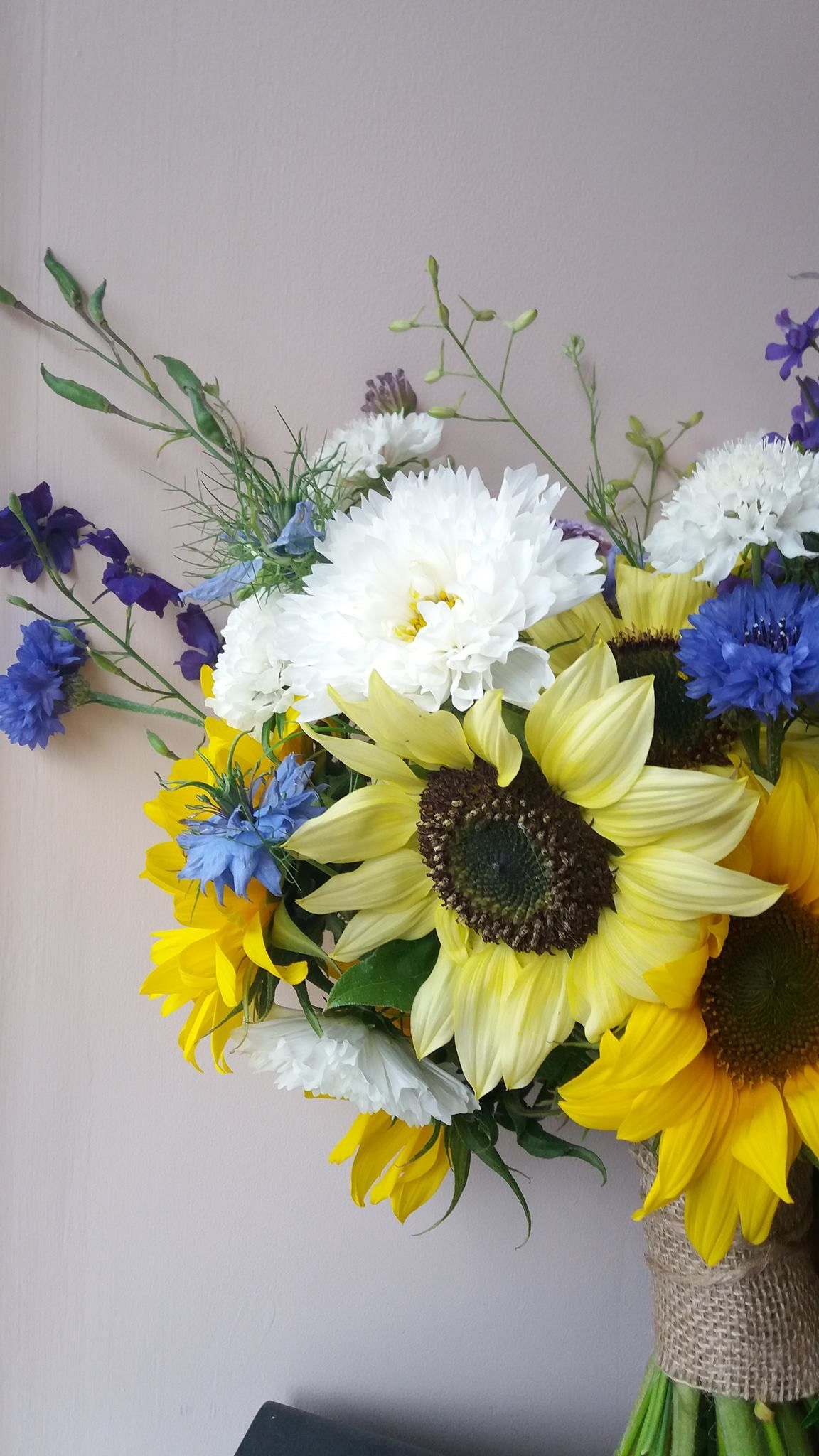 August sunflower and blue british flower bouquet yorkshire grown august sunflower and blue british flower bouquet yorkshire grown flowers for sarah and jasons wedding izmirmasajfo Image collections