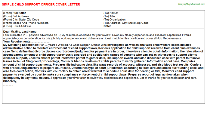 Wonderful Child Support Officer Cover Letter