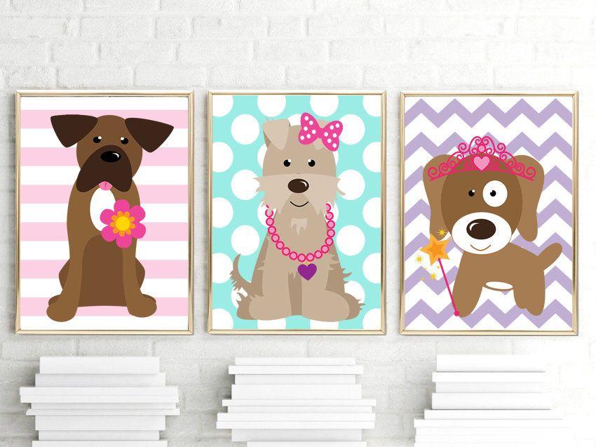Girl Dog Wall Art Girl Puppy Decor Girl Dog Bedroom Pictures Girl Dog Decor Girl Dog Theme Pet Lover Decor Canvas Or Pr Puppy Decor Dog Bedroom Dog Decor