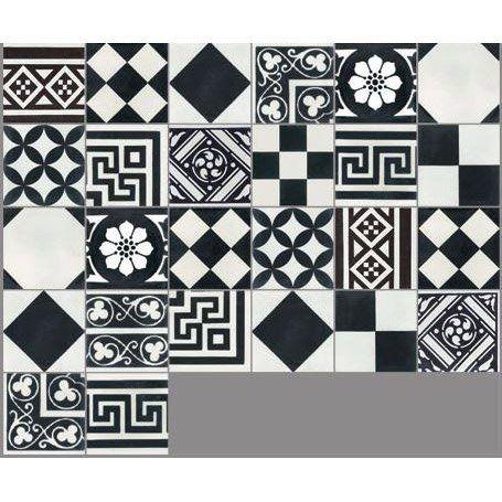 Carreau De Ciment Sol Et Mur Noir Et Blanc Patchwork L 20 X L 20