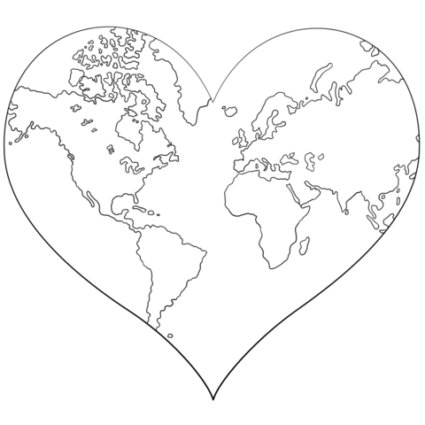 Heart Shaped Earth Coloring Page From Hearts Category Select From 24136 Printable Crafts Of Car Shape Coloring Pages Heart Coloring Pages Earth Coloring Pages