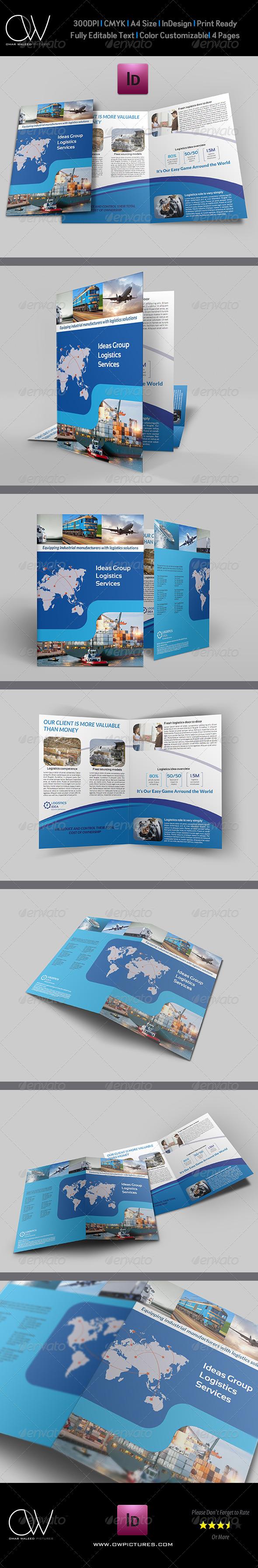 Sample Bi Fold Brochure | Logistics Services Bi Fold Brochure Template Bi Fold Brochure