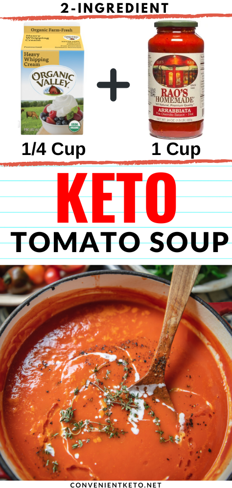 EASY KETO TOMATO SOUP! Perfect for family meal time! Easy Prep - Only 2-ingredients needed! #keto #lowcarb #ketosoup #lowcarbsoup #soup #easysoup #easyfamilymeals #familymeals #glutenfree #lowcarb #keto #mealprep #2ingredientrecipe