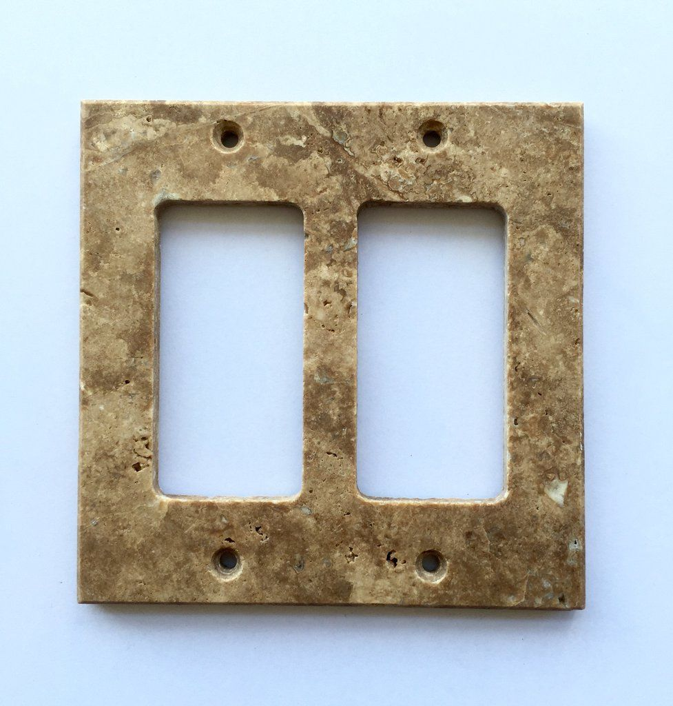 Dark Walnut Travertine Double Rocker Switch Wall Plate Light Switchplates Outlet Covers Plates Wallplates Cover Honed