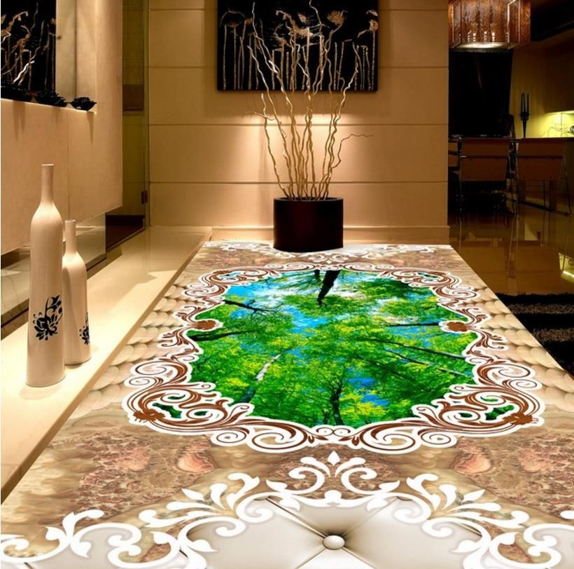 3D Floor Painting Customize Marble parquet Self adhesive