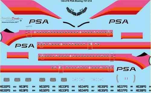 144-278 PSA Boeing 727-200 laser decal