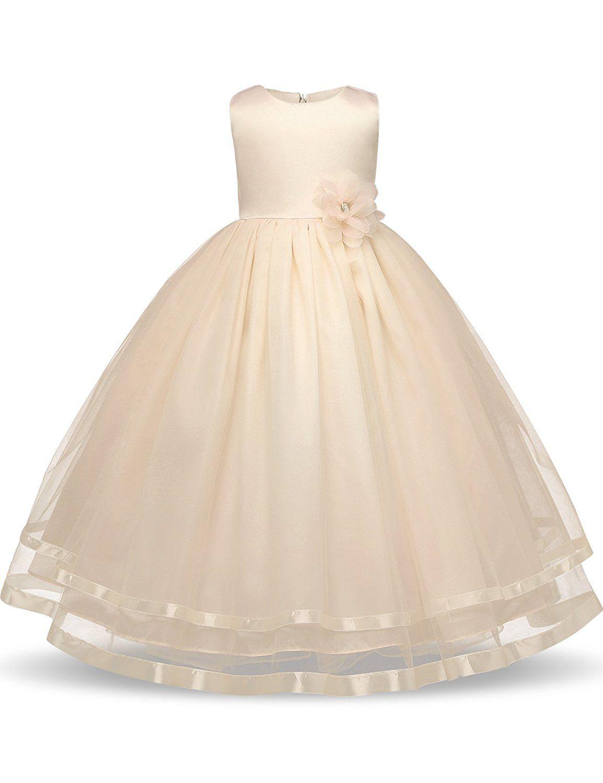 Amazon nnjxd girl sleeveless chiffon long tail wedding tutu