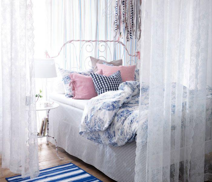 Ikea sterreich inspiration schlafzimmer leirvik bettgestell emmie land bettw sche set Gardinenschals kinderzimmer