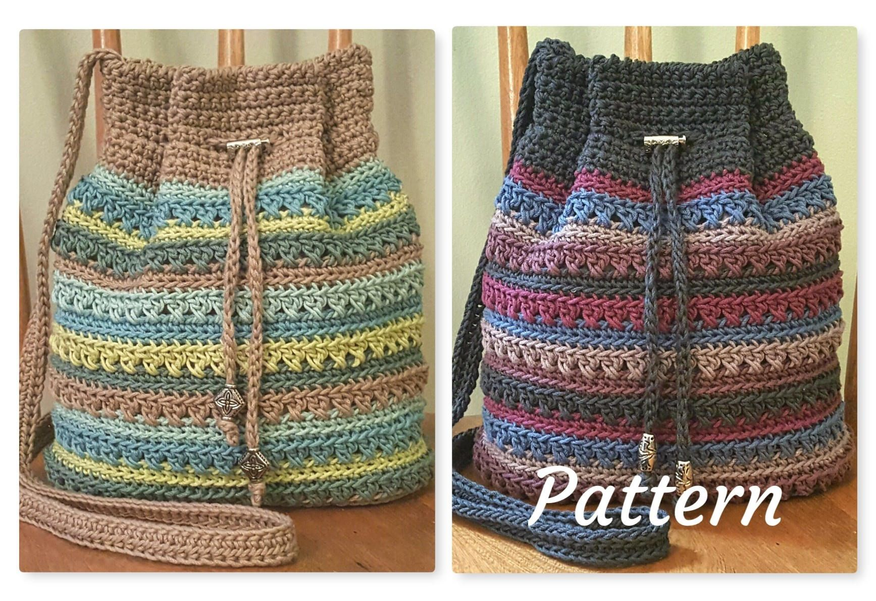 Crochet PATTERN Crisscross Drawstring Bag DIY Crossbody Bag ...