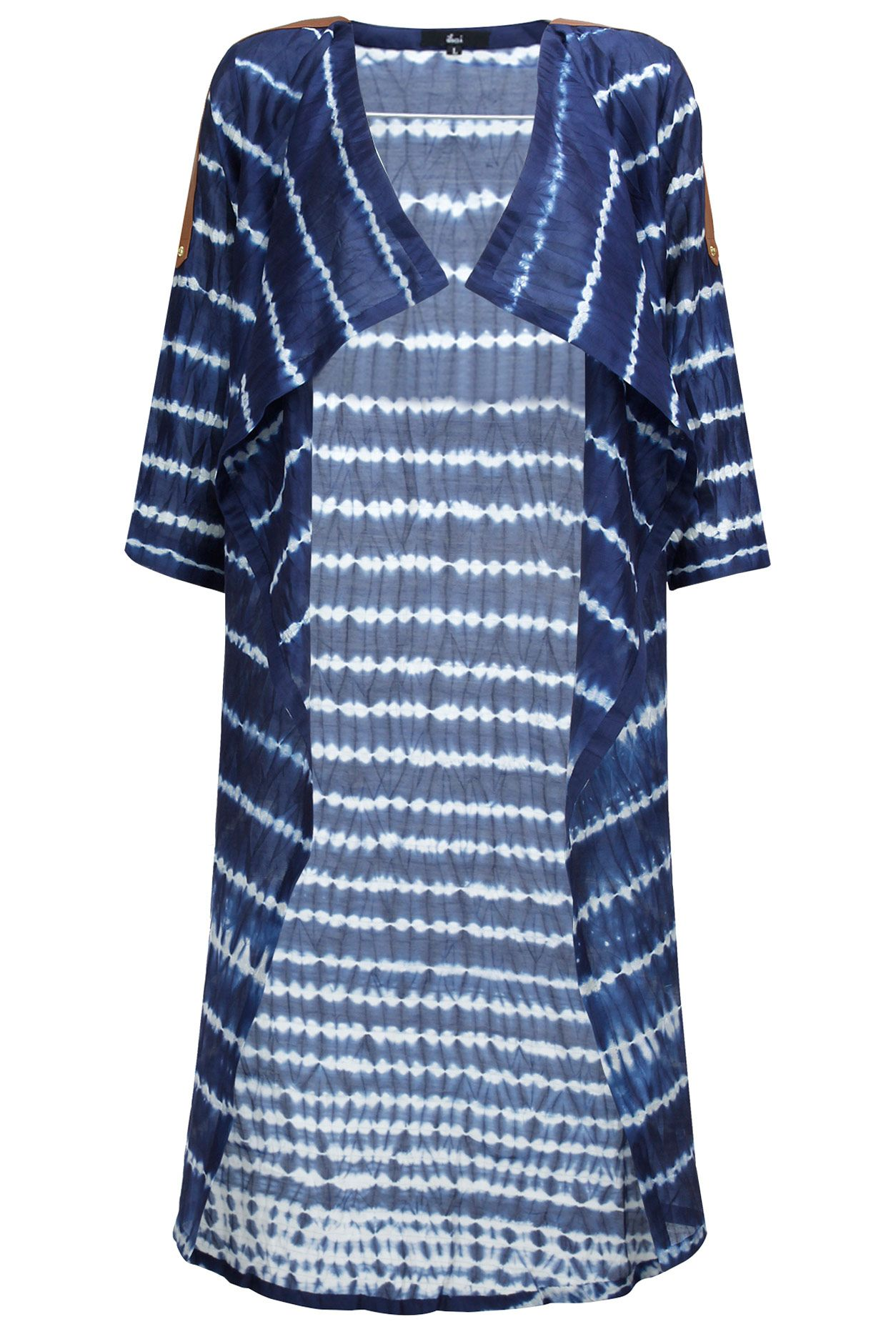Ink blue shibori long cape by ikai by ragini ahuja shop now at