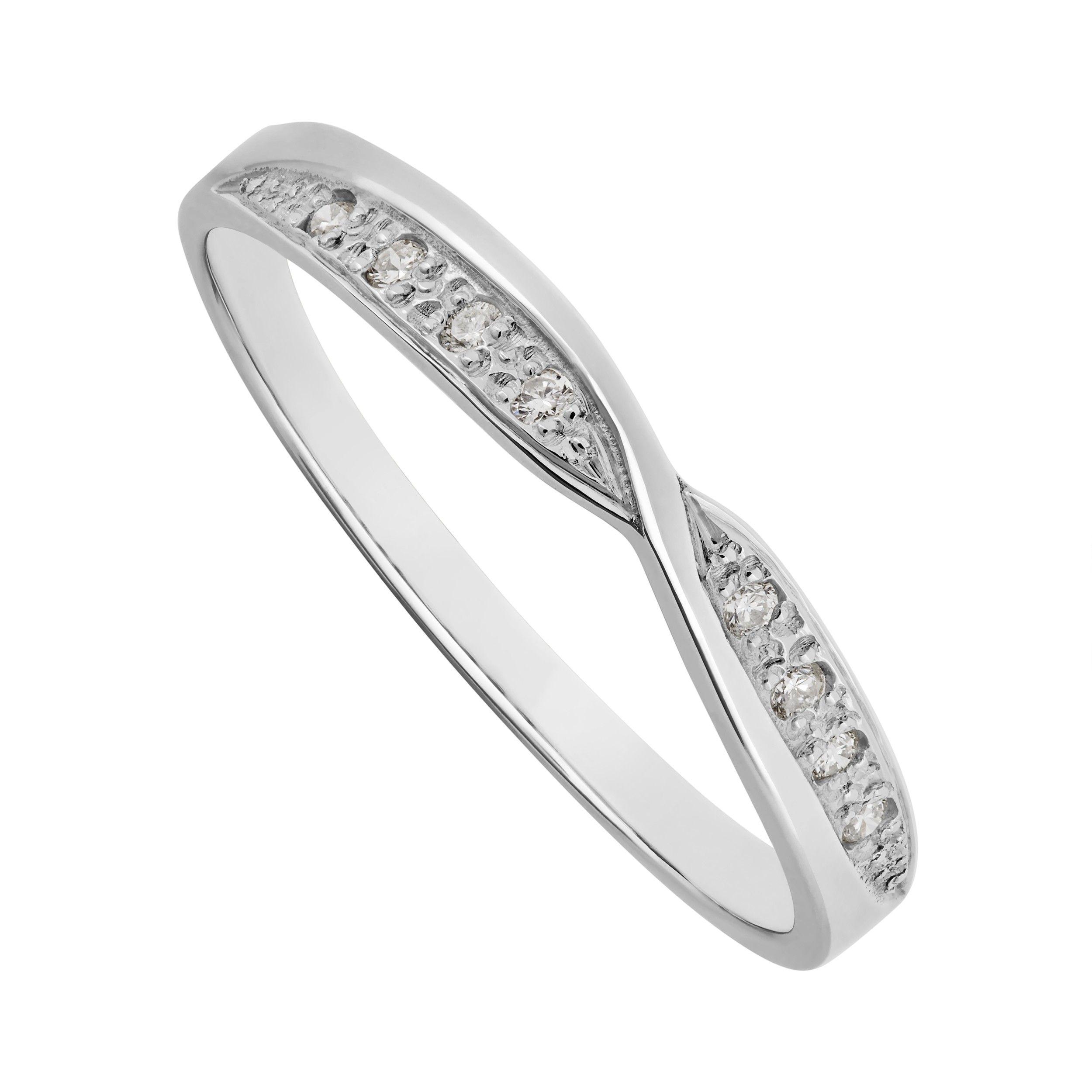 Ladies 18ct white gold diamond shaped crossover wedding ring