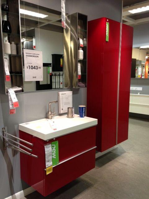 IKEA Godmorgon high gloss red bathroom furniture | Office Ideas ... | {Ikea badmöbel godmorgon 63}