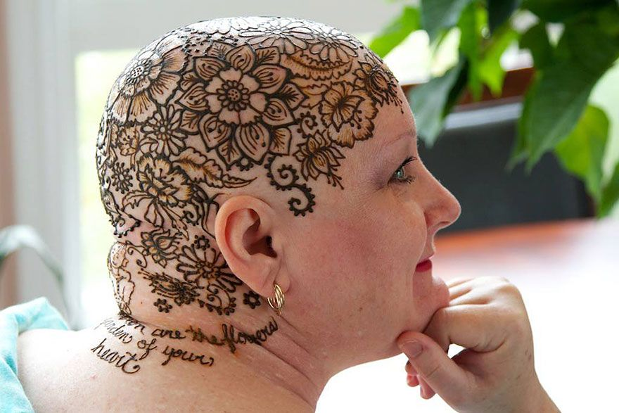 Mehndi For The Hair : Elegant henna tattoo crowns help cancer patients cope with their