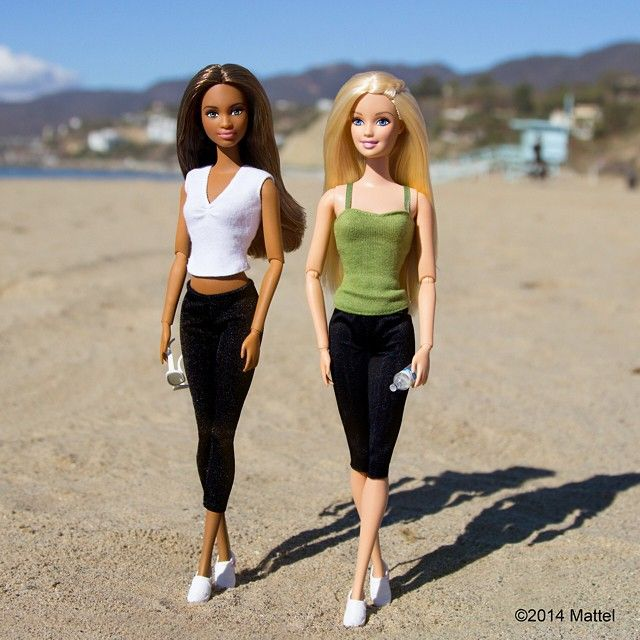 The best way to start a Saturday! At the beach with my workout buddy.  #barbie #barbiestyle