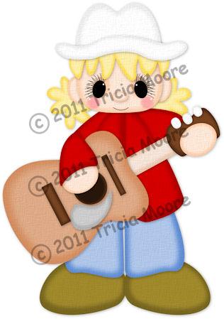 Guitar Player Girl Pattern