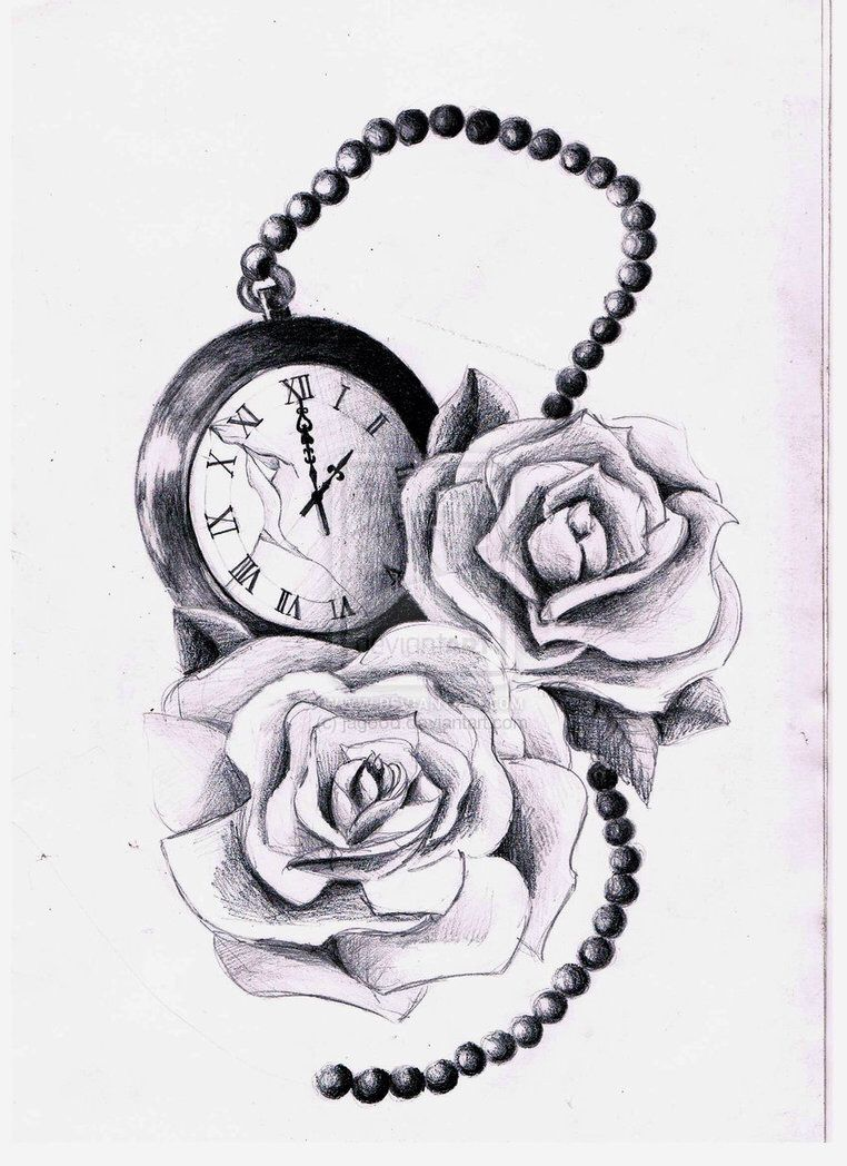 Beautiful Portrait With Rose And The Clock Tattoo Best Tattoo Ever Tattoos Sleeve Tattoos