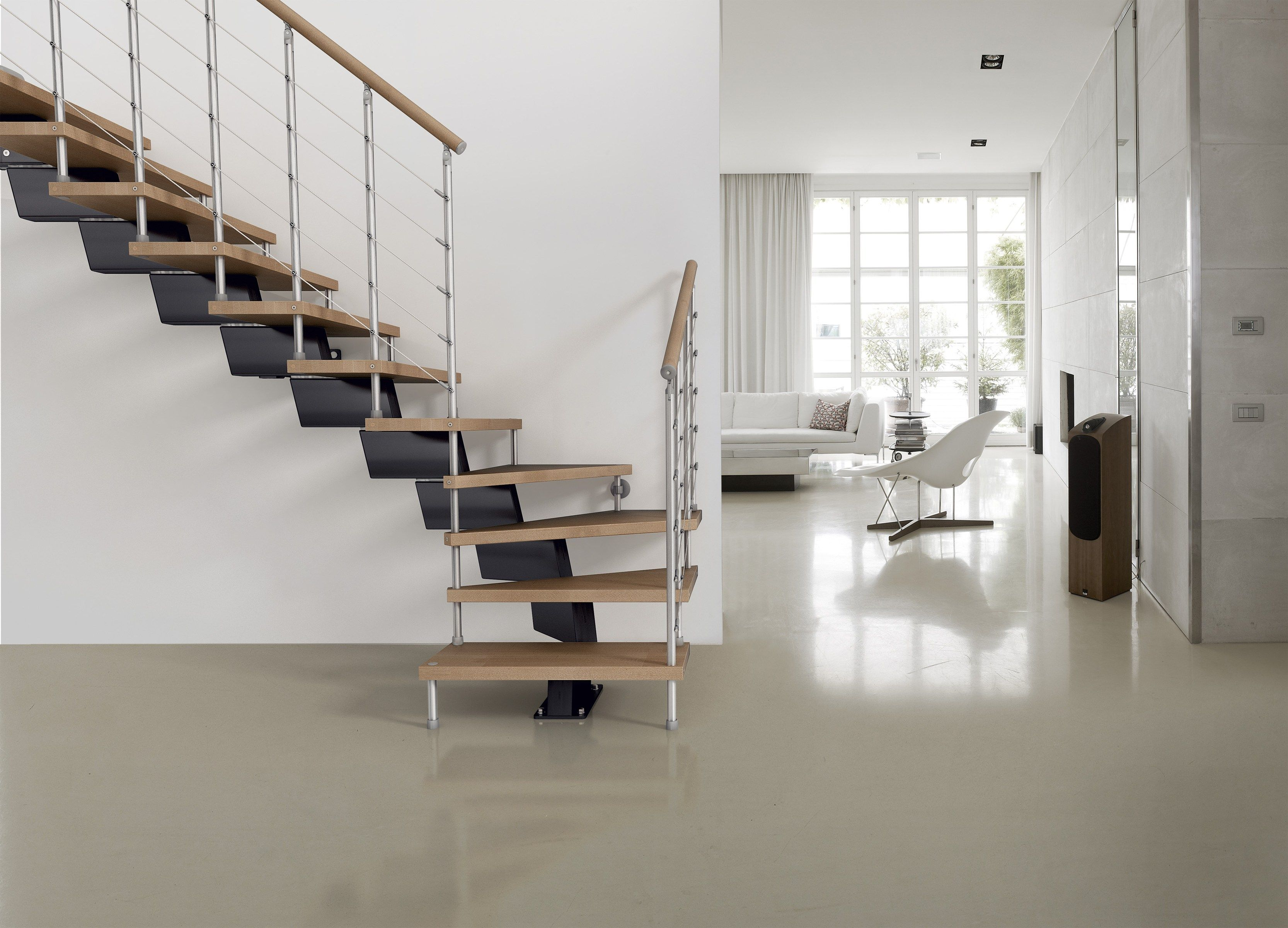 Best Genius 040 Open Staircase By Fontanot Spa Metal Stairs 400 x 300