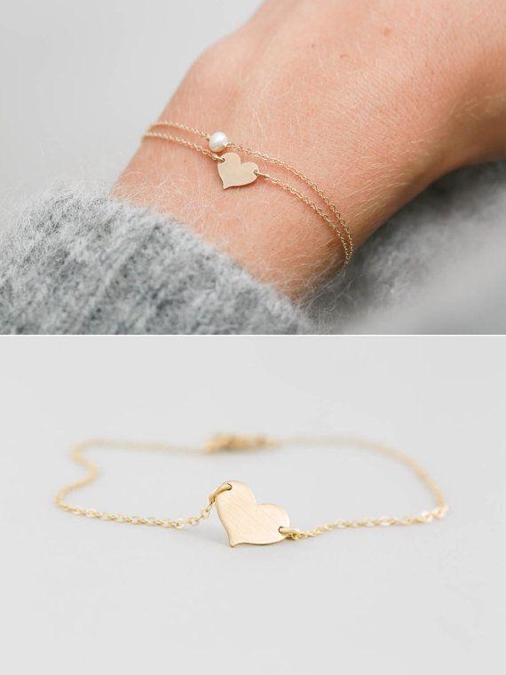 Dainty heart bracelet Silver heart bracelet Love bracelet woman Silver heart charm bracelet Love heart bracelet Custom initial bracelet