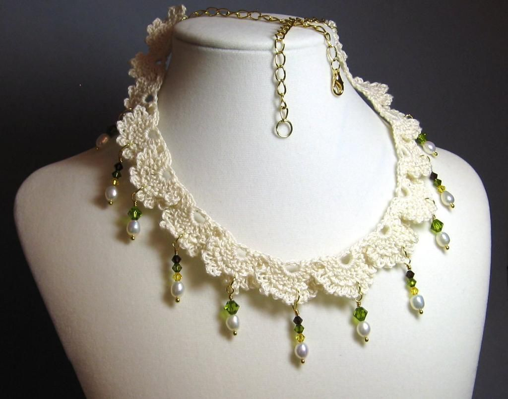 Crochet lace necklace with beads lace necklace crochet lace and crochet lace necklace with beads bankloansurffo Image collections