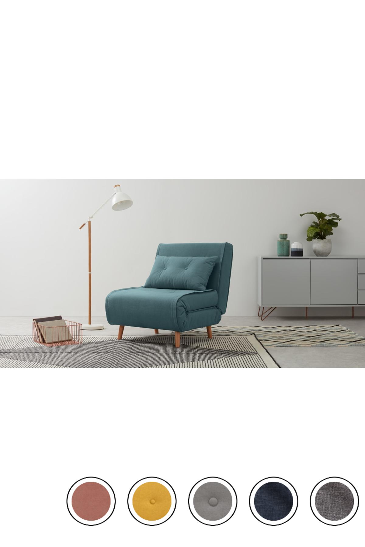 Haru Single Sofa Bed Sherbet Blue Single Sofa Small Sofa Bed Furniture