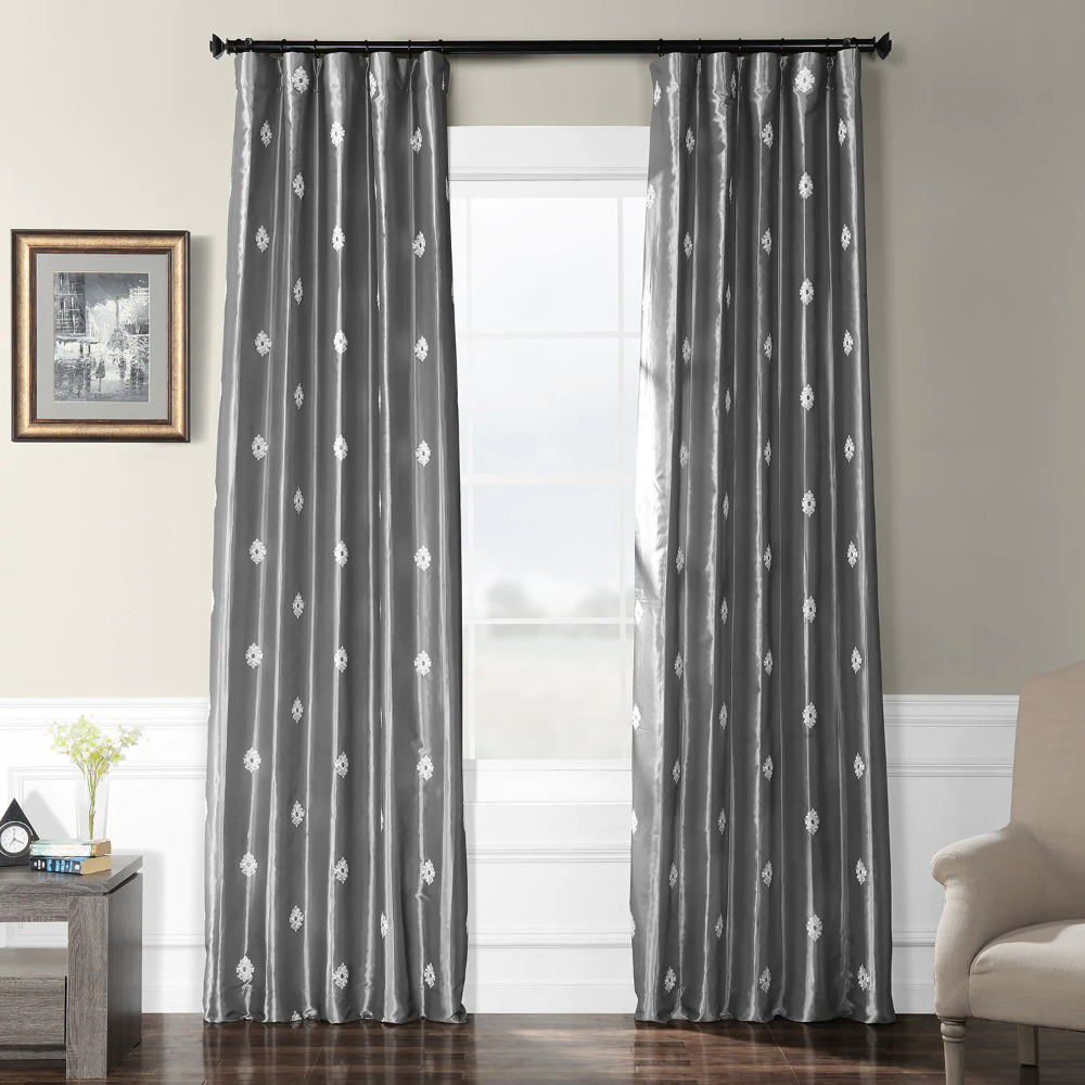 Trophy Platinum Grey Designer Embroidered Curtain Faux Silk Curtains Panel Curtains Silver Room