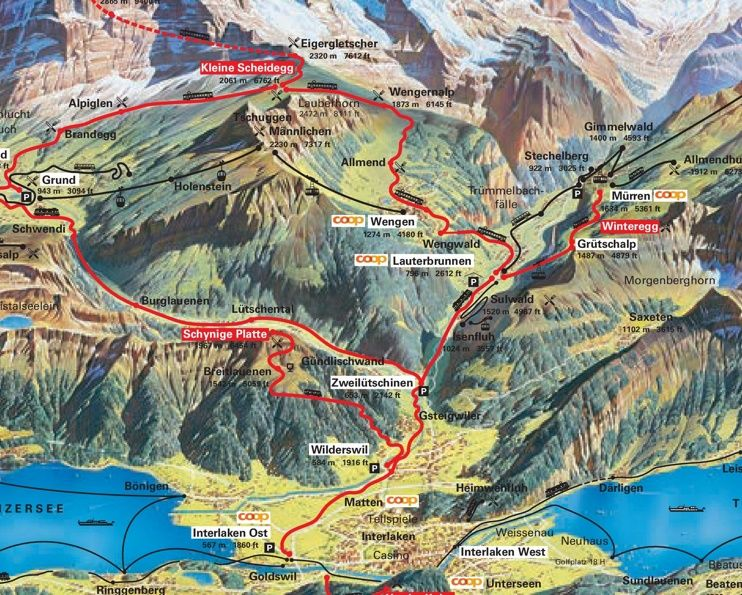 Wengen summer map Maps Pinterest Switzerland