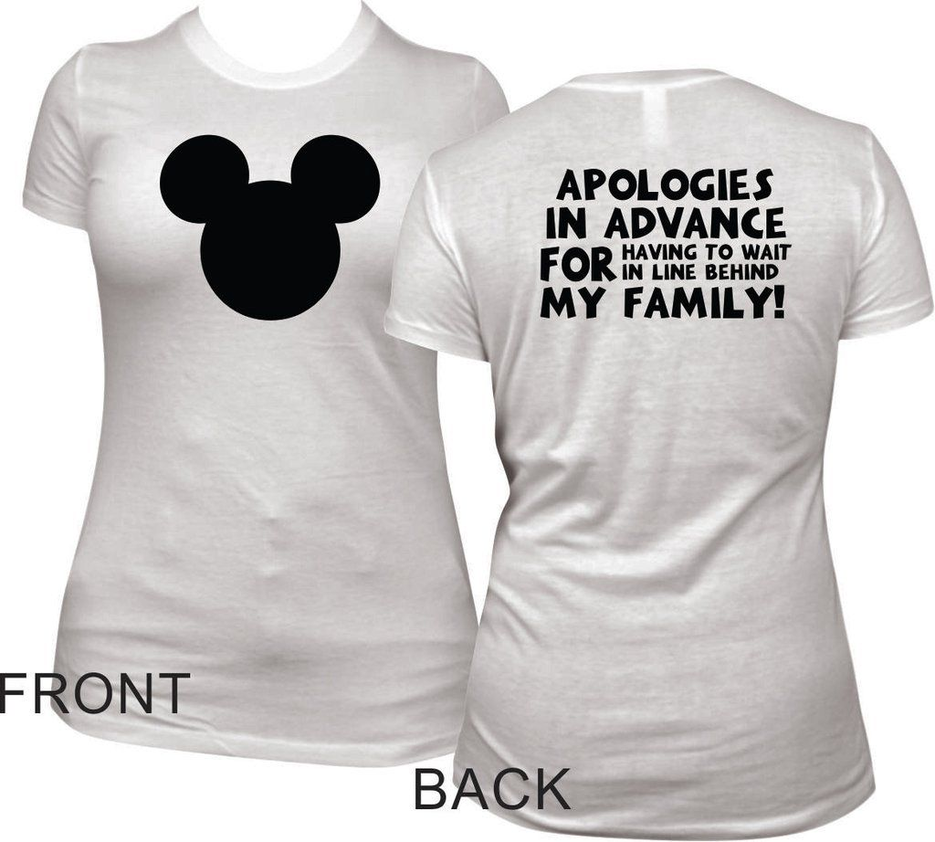 2d6e1a1b4ecafa Funny Womens Disney T Shirt - Mickey Head and Apologies Short Sleeve Tee
