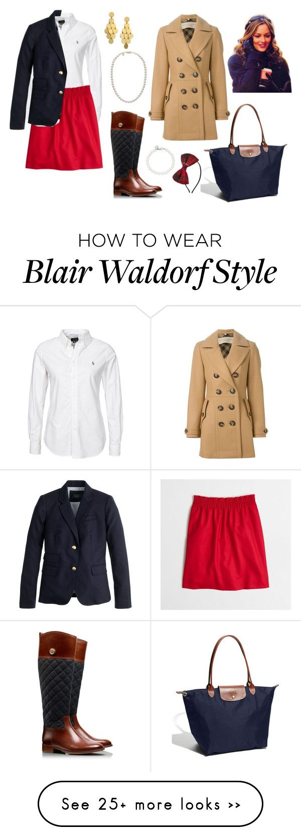 """""""Blair Waldorf inspired. """" by preppy80 on Polyvore featuring J.Crew, Tory Burch, Mikimoto, Tiffany & Co., Stephanie Kantis, Burberry and Longchamp"""