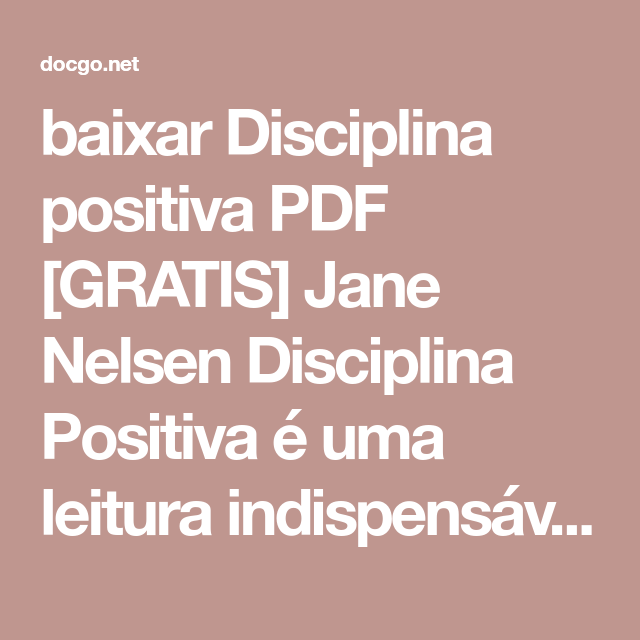 disciplina positiva jane nelsen pdf download gratis