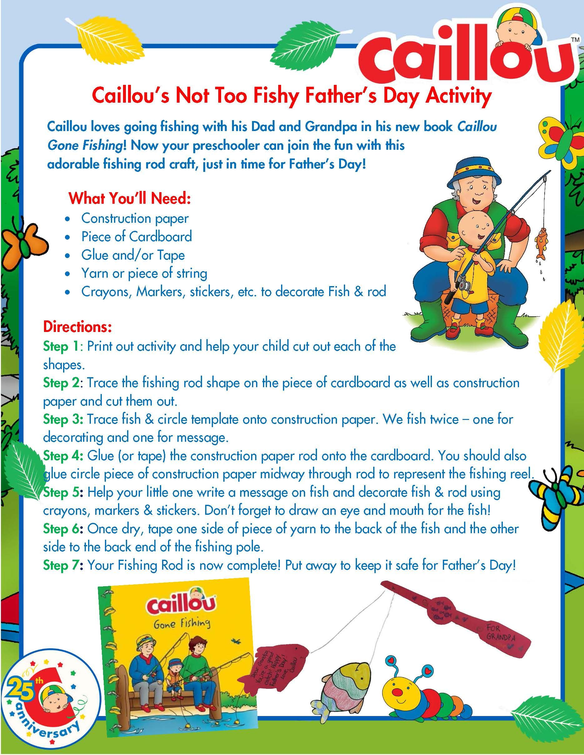 Caillou Father s Day Activity