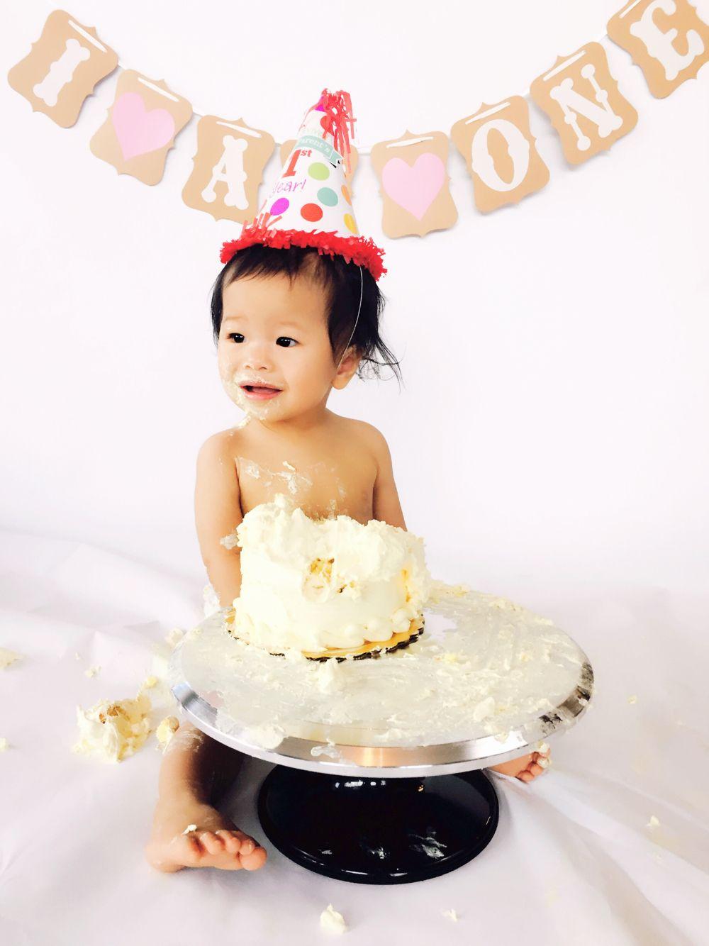First birthday cake smash photo taken at home! Cake